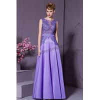 Cheap Lavender Sleeveless Round Neck Lace A-Line Prom Dress SO955 for sale