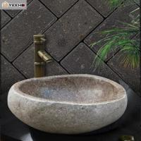 China Natural River Cobble Stone Wash Basin Bathroom Sink Vanity Unit Counter Top on sale