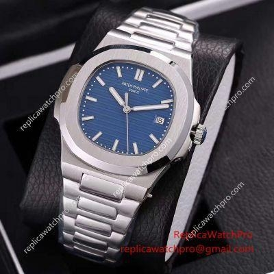 Quality Knockoff Patek Philippe SA Nautilus Stainless Steel Blue Face 40mm Watch wholesale